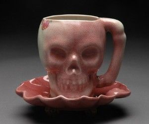Skulls:  Pink #Skull Teacup and Saucer. Not sure I'd enjoy my tea in this one