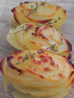 Montañitas de patata con ajo, parmesano y tomillo (guarnición),con receta y paso a paso,