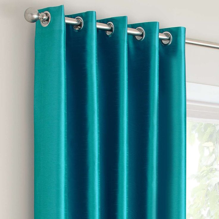 Montana Teal Lined Eyelet Curtains | Dunelm