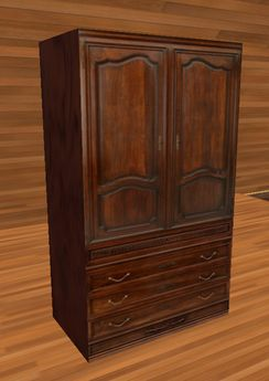 MNM - 1 one prim French Victorian armoire wardrobe with drawers - modifiable
