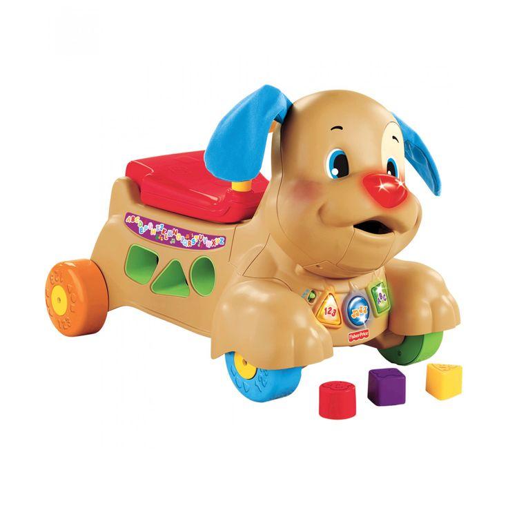 """Mattel Laugh & Learn Perrito Camina Conmigo es una andadera y montable con muchas características especiales. La cabeza y orejas se mueven conforme avanza la mandíbula se abre y cierra para que el bebé pueda """"alimentar"""" a Perrito. También tiene un área d"""