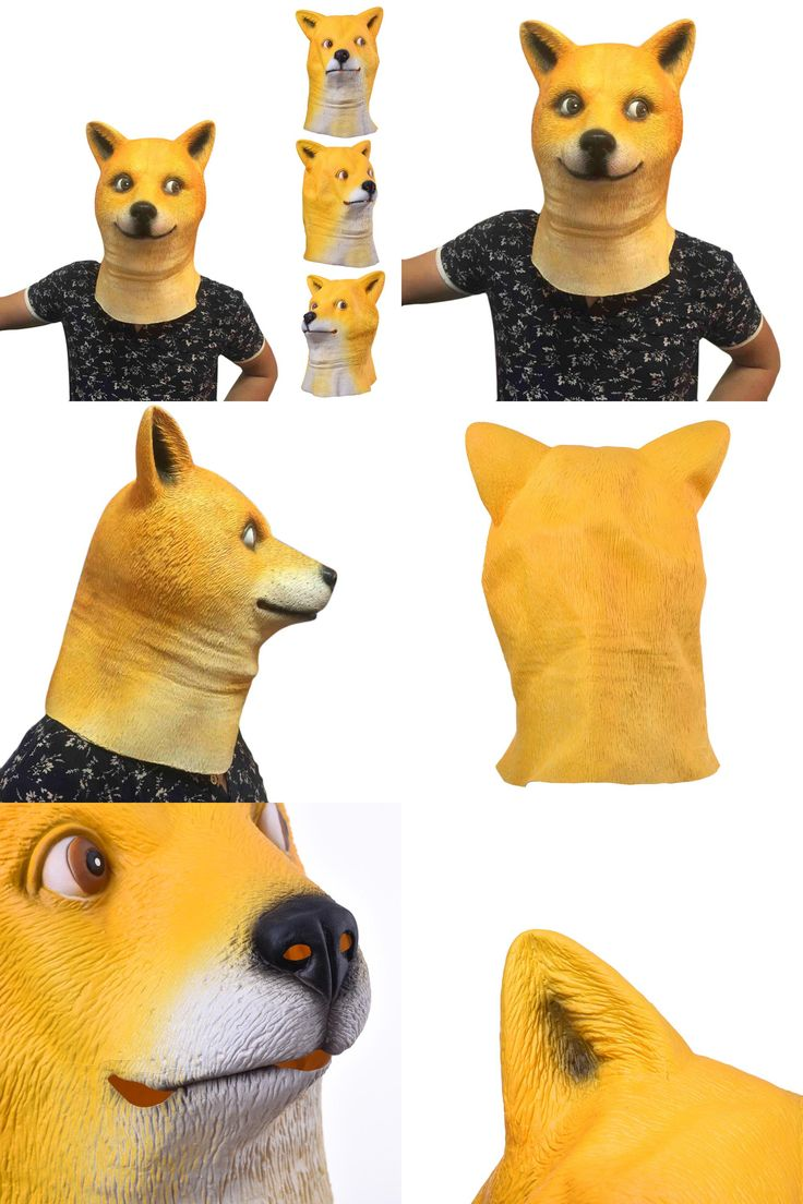 [Visit to Buy] High Quality Latex Animal Mask Full Face Mask for Adults Halloween Mask Shiba inu Latex Mask Cosplay Party Costume Prop #Advertisement