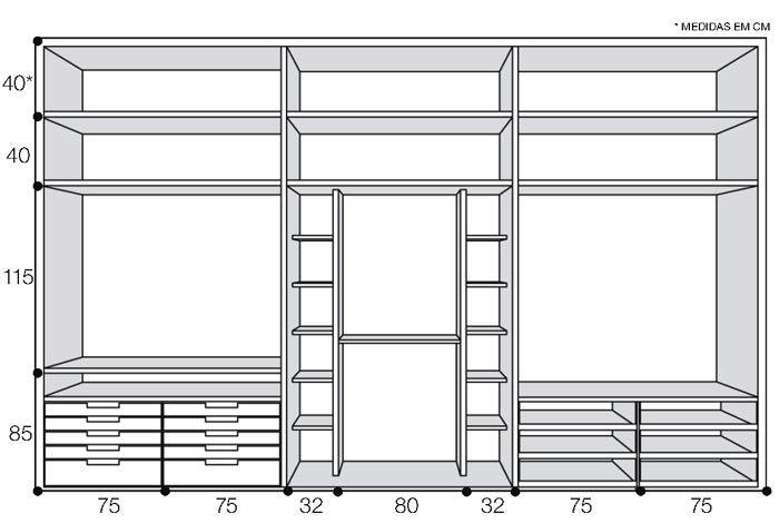Marcenaria detalhada organiza o closet - Casa