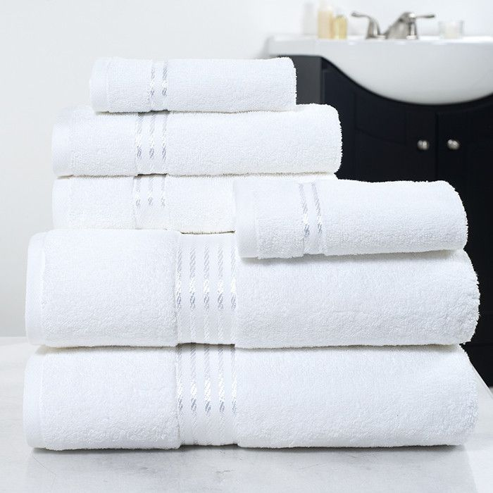 Lavish Home 100% Cotton Hotel 6 Piece Towel Set - White