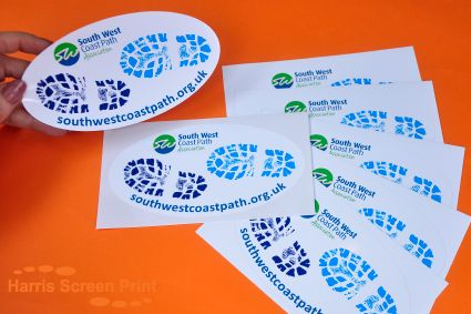 Waterproof outdoor oval stickers printed full colour