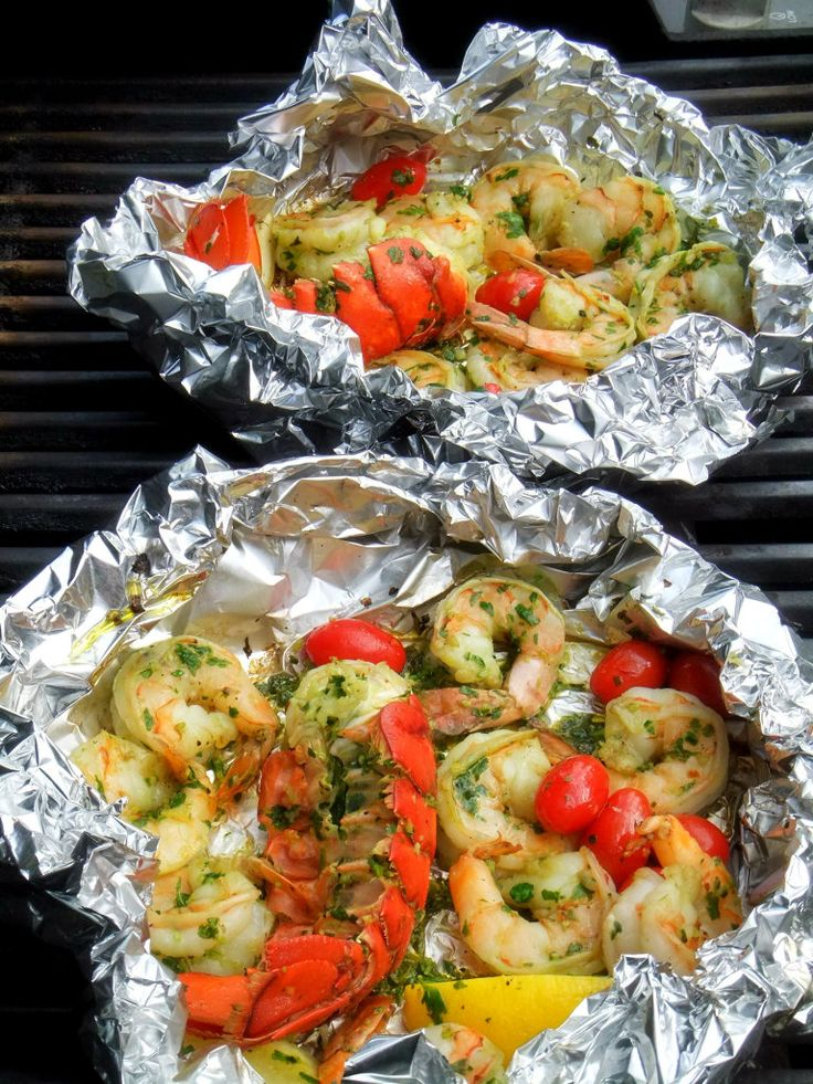 Shrimp and Lobster with Pasta - placed on grill in foil packs