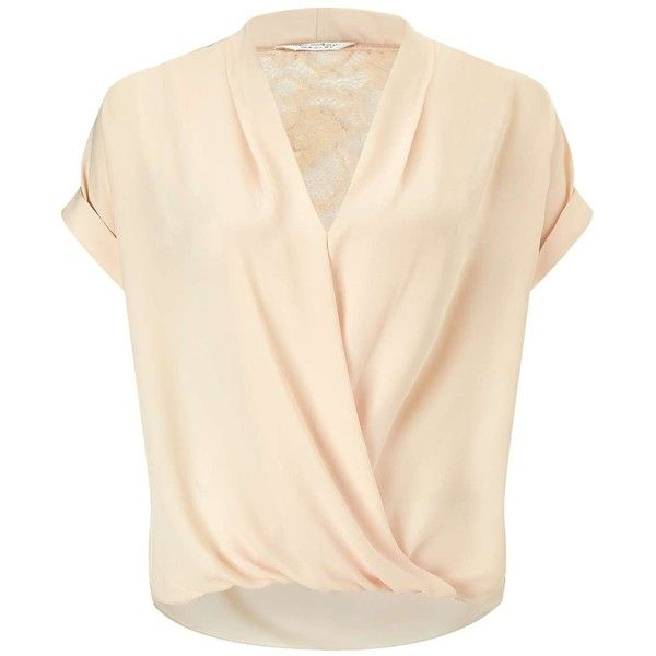 Miss Selfridge Nude Lace Back Drape Blouse found on Polyvore featuring tops, blouses, shirts, t-shirts, nude, drape shirt, short-sleeve shirt, short-sleeve blouse, nude blouses and pink shirts