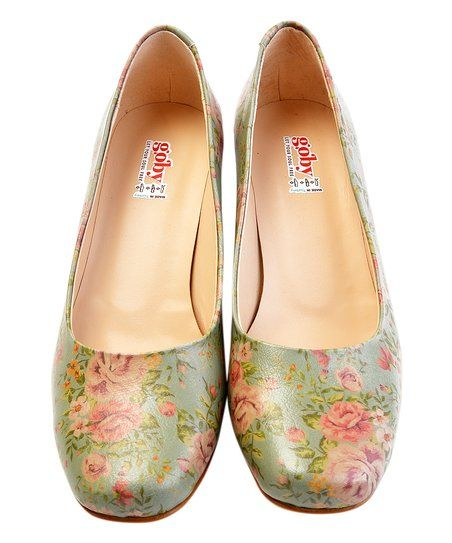 Wedding Shoes Zippay: Goby Sage & Pink Floral Square-Toe Pump