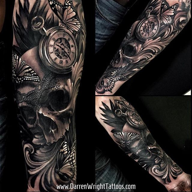 Sick black & gray skull half sleeve Artist IG: @darrenwrighttattoos