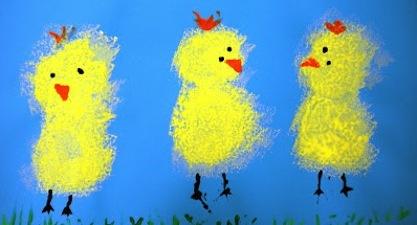 easter crafts for preschoolers sponge paint chicks