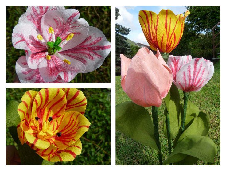 Tulipani di carta crespa. # tulips # crepe paper flowers #