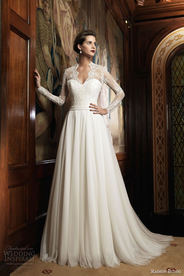 raimon bundo 2014 isolda long sleeve wedding dress v neck