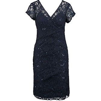 Navy Sparkle Lace Shutter Pleat Dress