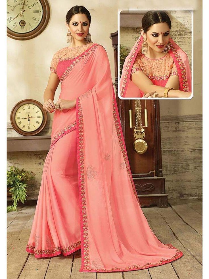 Designer exclusive Satin Silk with Swarovski Diamond & Jarkan work Party Saree #Handmade #SariSaree