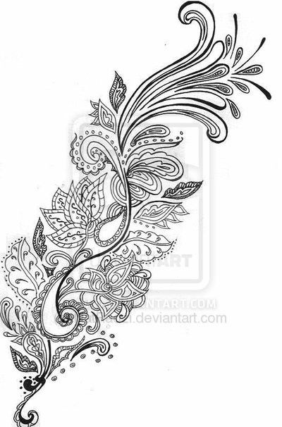 Paisley / mehndi style tattoo. Love the detail at the beginning