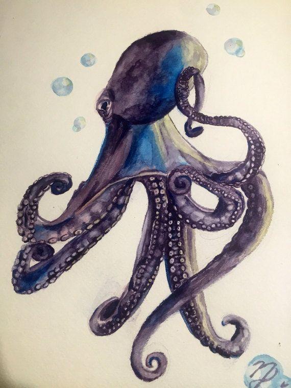 De Octopus  originele aquarel schilderij 9 van door PeculiarPalette