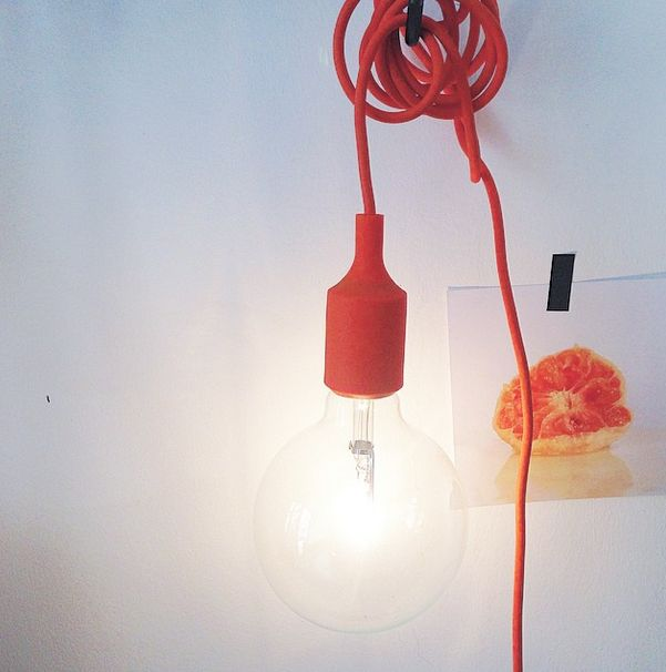 the e27 pendant by @muuto in orange paired with cute little card