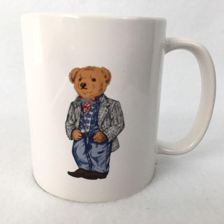 Polo RALPH LAUREN Teddy Bear Cowboy Mug Coffee Cup 1997 Vintage 10 Ounces #RalphLauren