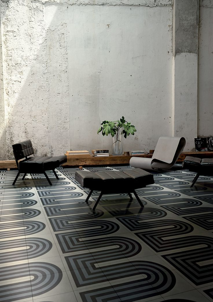 Tom Dixon's Cementiles collection features brick and pebble-dash wall designs.