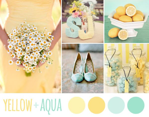 yellow + aqua wedding inspiration board
