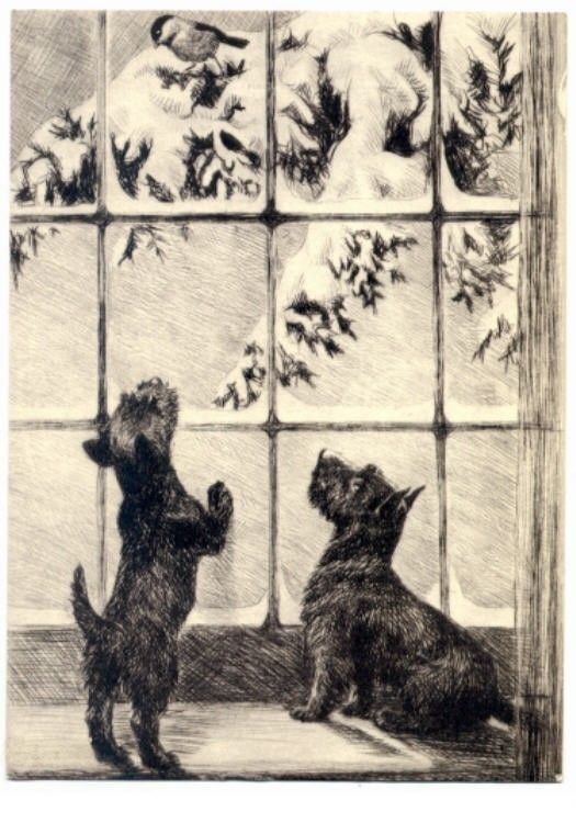 Scottie Dogs Spy A Bird At Snowy Wintry Window Note Card s Scottish Terrier Holiday. $17.20, via Etsy.