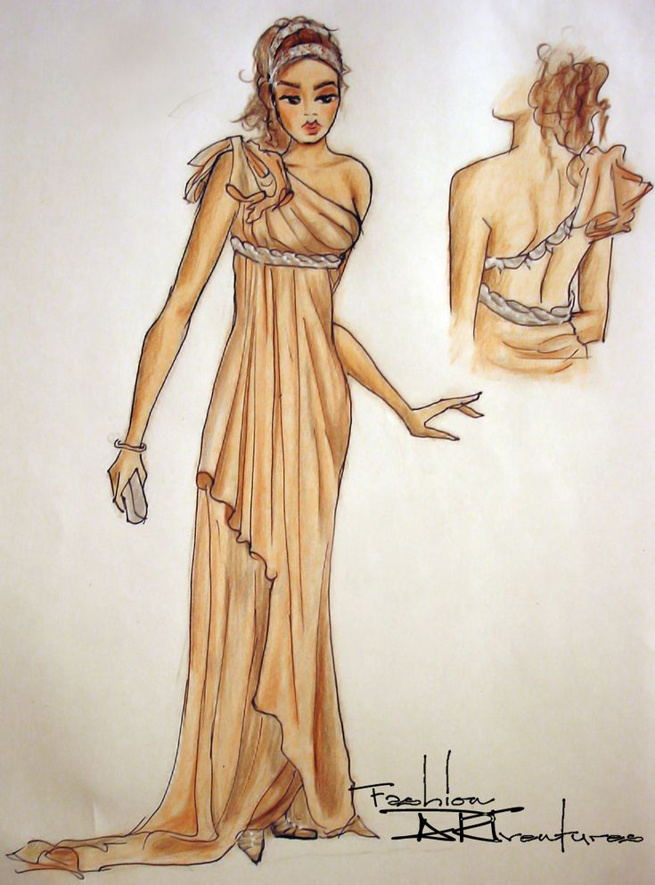Silk Dress in Tan Greek Style: Advanced Fashion Drawing ...