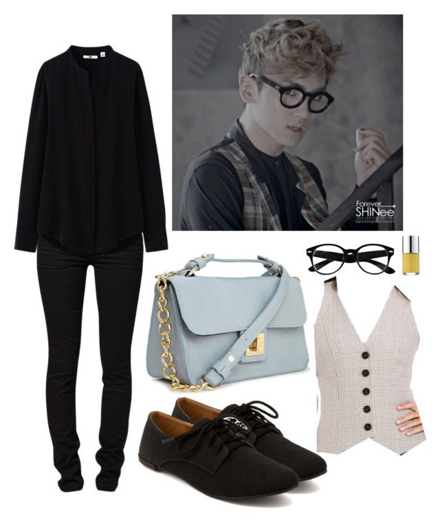 """""""SHINee """"Sherlock"""" Key Inspired Outfit"""" by smokingcrayonz ❤ liked on Polyvore featuring River Island, Nails Inc., Charlotte Russe, ONLY, Uniqlo, Nine West and Forever 21"""