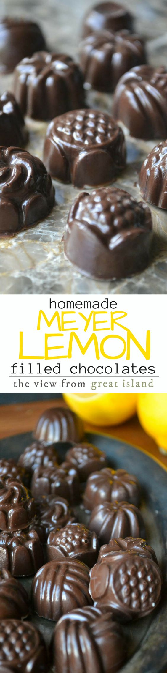 Believe it or not these Meyer Lemon Filled Chocolates are super easy to make at home, and you can customize the chocolate and the filling in countless variations! | Valentine's Day | Mother's Day | Homemade candy | diy | Holiday food gifts