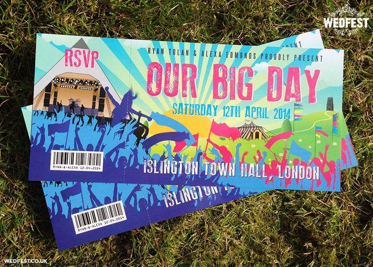 glastonbury ticket wedding invites - http://www.wedfest.co/glastonbury-wedding-stationery/