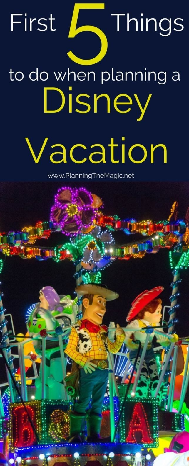 First 5 Things to do to Make Planning a Disney Vacation Simple| Don't get overwhelmed by all the tips and tricks out there.  Start with these 5 steps first.  More information at www.planningthemagic.net