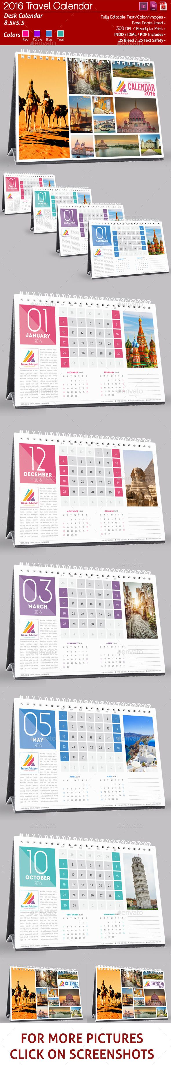 Corporate 12 Page 2016 Desk Calendar Template InDesign INDD #design Download…