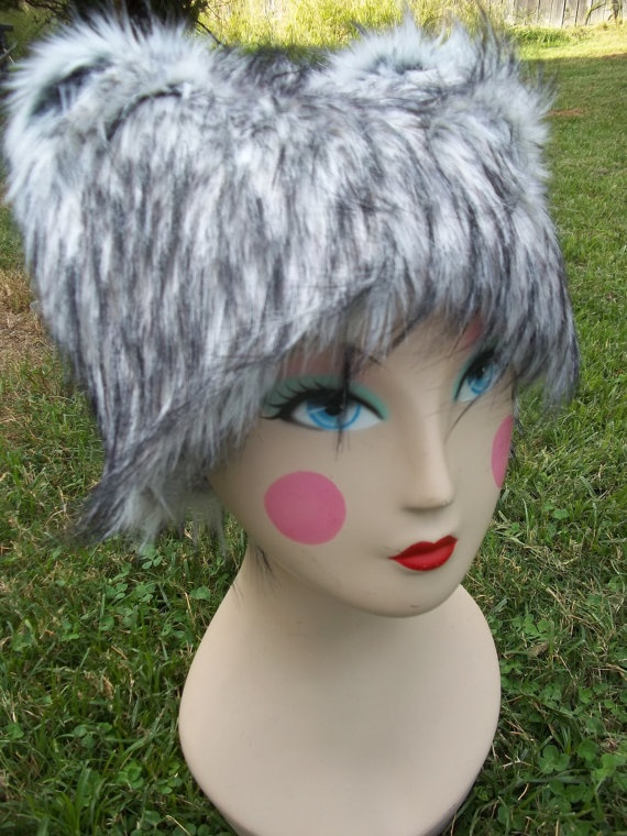 NEW Black White Fur Kitty Cat Ears Hat Halloween by