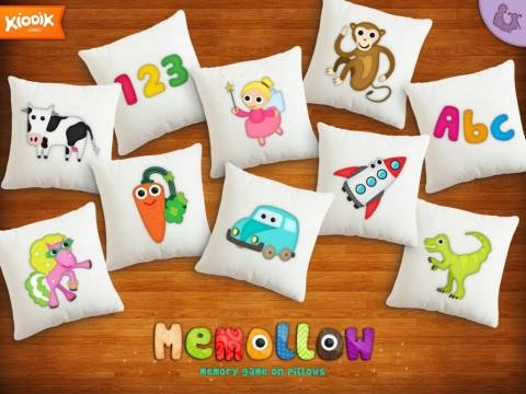 Memollow - Memory Game on Pillows for Kids - gra memo na iPada z 10 różnymi tematami obrazków do wyboru. Liczba punktów Appysmarts: 84/100 #dzieci