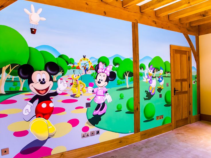 fun disney style hand painted mural with favourites mickey mouse minnie mouse pluto goofy and donald and daisy duck