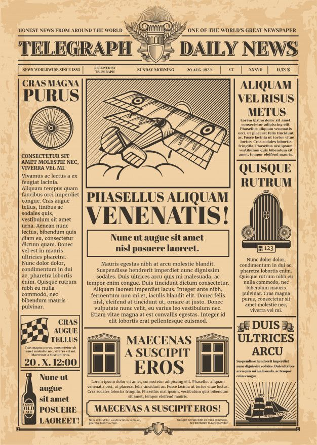 Old Newspaper Vector Template Retro Newsprint With Text And Images Newspaper Vintage With Text Article Col Newspaper Template Vintage Newspaper Old Newspaper