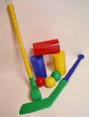 СВСД Неприступные ворота (8 предметов)  — 305р. ----------------  СВСД Неприступные ворота (8 предметов)   Комплект состоит из трёх цилиндров, клюшки для гольфа, хоккейной клюшки и трёх шаров (диаметр 70 мм).   Предназначен для двух игроков.