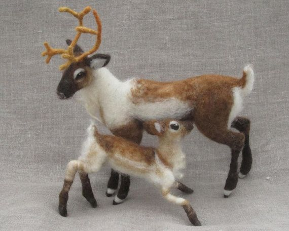Needle felted mother and baby reindeer by Ainigmati on Etsy, $300.00