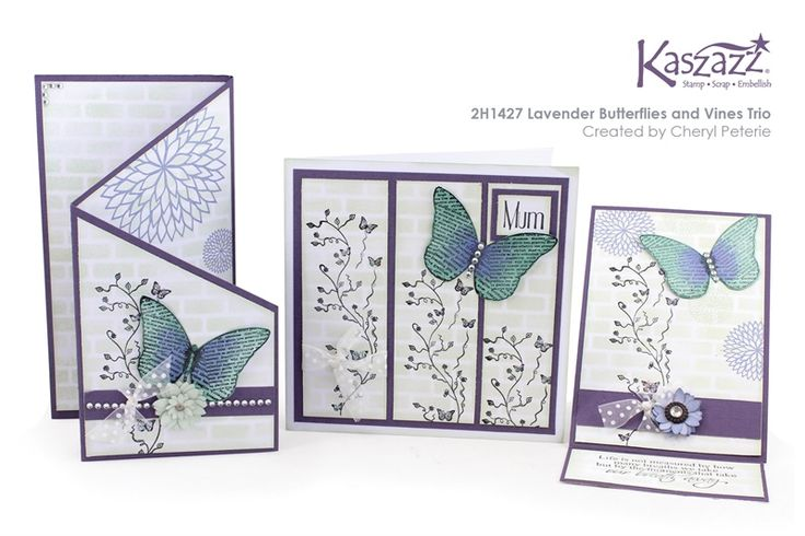 2H1427 Lavender Butterflies and Vines Trio