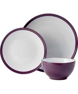 ColourMatch 12 Piece Stoneware Dinner Set - Purple.