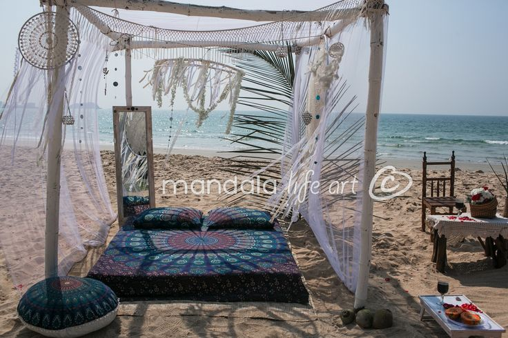 """Those amazing bohemian wall hanging are hand printed on organic canvas using vegetable dyes , they measure 92""""x82""""  , are available from our shop .  #bohemian #boho #beach #gypsy #hippie #vibes"""