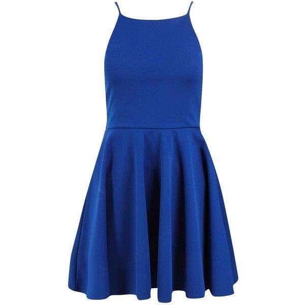 Petite Sara Cut Away Neckline Skater Dress ($34) ❤ liked on Polyvore featuring dresses, abiti corti, blue dress, petite skater dress, skater dress, petite dresses and blue skater dress