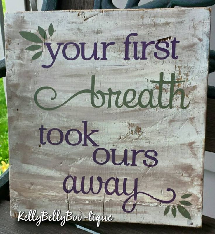 "9"" x 9"" wooden sign This beautiful sentiment is a great addition to any nursery. Purple and olive green lettering on a whitewashed background. distressed/weath"