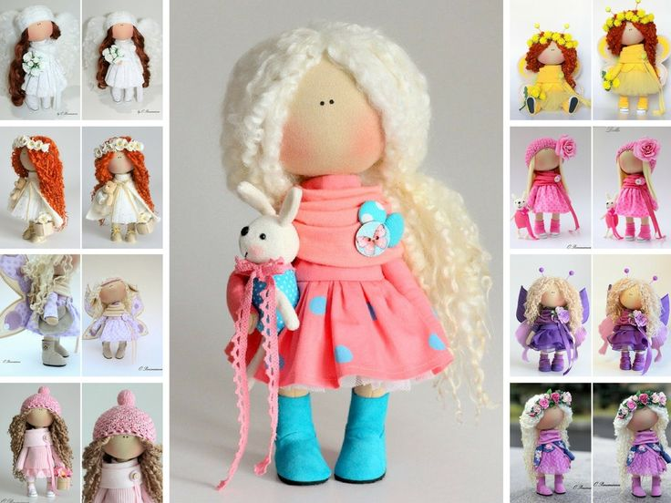 Hello, dear visitors!    This is handmade fabric doll created by Master Olga P (Kazan, Russia).      Doll is 30 cm (11.8 inch) tall and made of ONLY of highest quality materials from Europe and USA. Hairs are from sheeps.    This doll is made TO ORDER.      You will receive almost exact same toy with slight changes.  Any exact changes are made upon agreement between Master and Buyer.    Please, note: dry clean only. Dolls and toys do not contain any timber or metal frames inside…