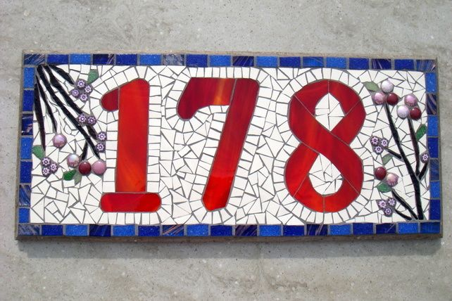 Mosaic House Number Made to Order