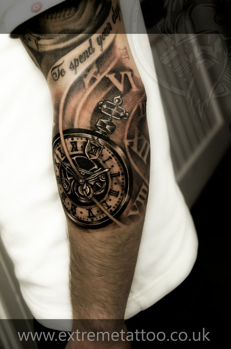 Clock forearm black rose sleeve tattoo - 25 Amazing Biomechanical Tattoos Design Biomechanical Tattoos Pocket Watch Tattoos And Watch Tattoos