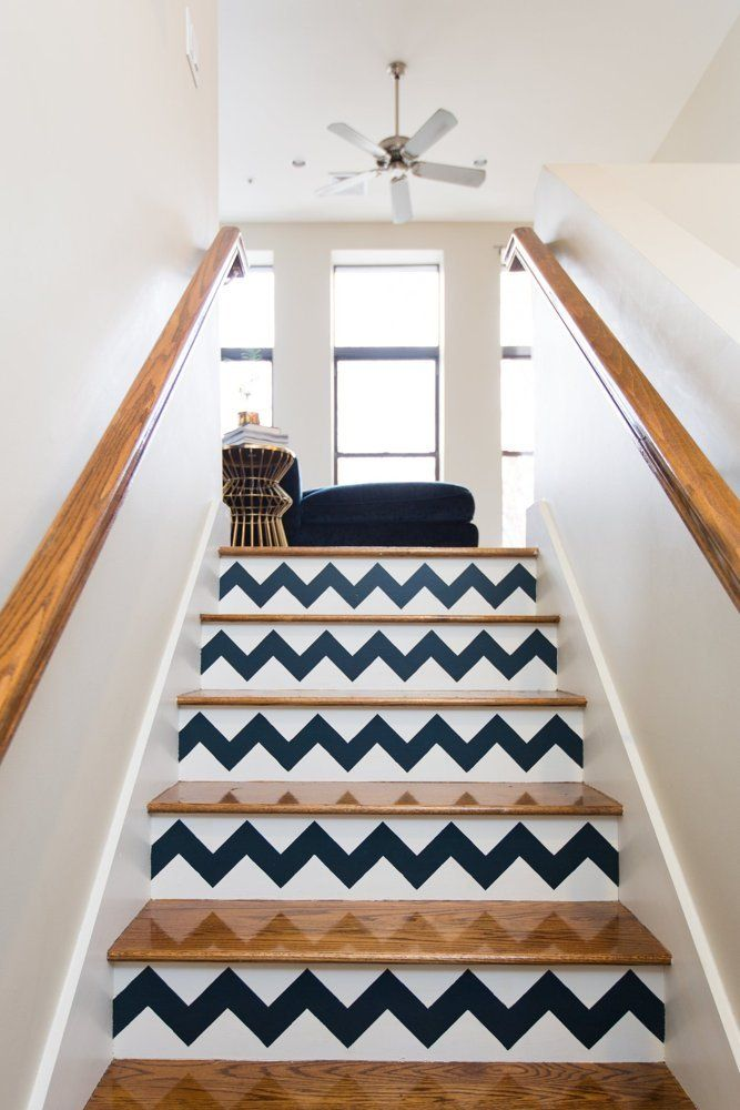 Chevron painted stairs