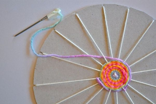 Montessori Practical Life and arts and crafts: circular weaving activity.