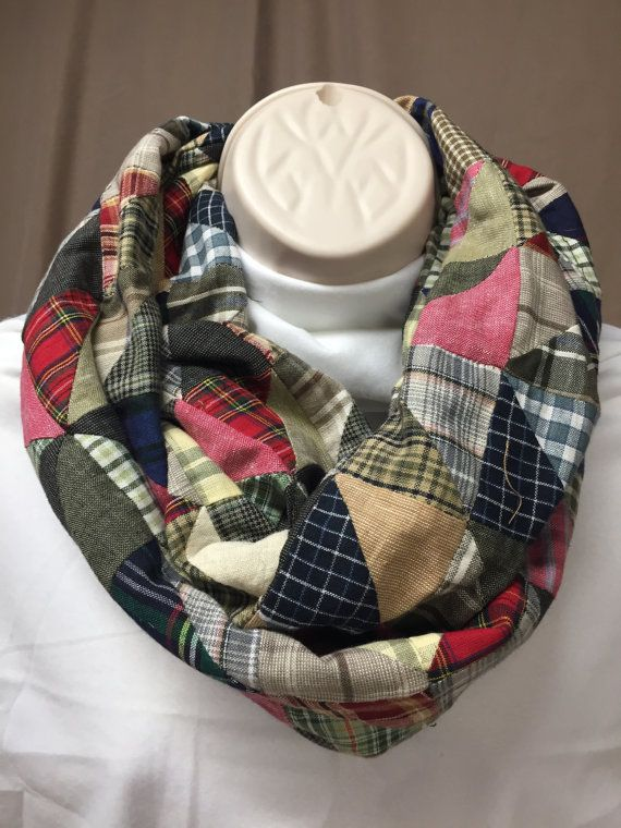 Infinity Scarf Patchwork fabric unique one of a by NanasSweeties51