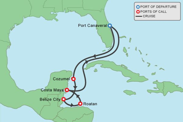Itinerary Map For Night Western Caribbean Port Canaveral - Where is port canaveral
