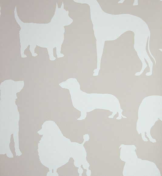 Best in Show Wallpaper Taupe wallpaper with silhouettes of dogs in off white.